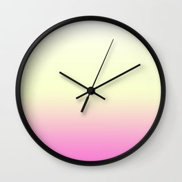 Ombre gradient digital illustration pink yellow colors Wall Clock