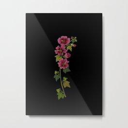 Malva Sylvestris Mary Delany Delicate Paper Flower Collage Black Background Floral Botanical Metal Print