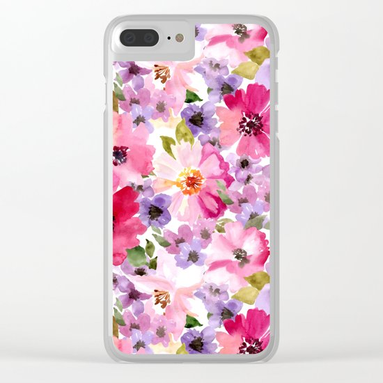 FLOWERS WATERCOLOR 6 Clear iPhone Case
