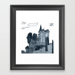 house with a turret and trees Framed Art Print