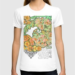 Romance in Paris, Art Nouveau Floral Nostalgia T-shirt