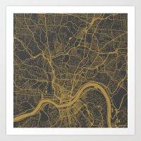 cincinnati Art Prints featuring Cincinnati map by Map Map Maps