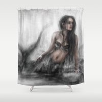 mermaid Shower Curtains featuring Mermaid by Justin Gedak