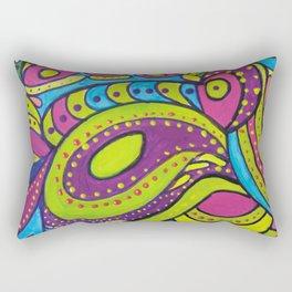 Acrylic Painting Green Purple Aqua Rectangular Pillow