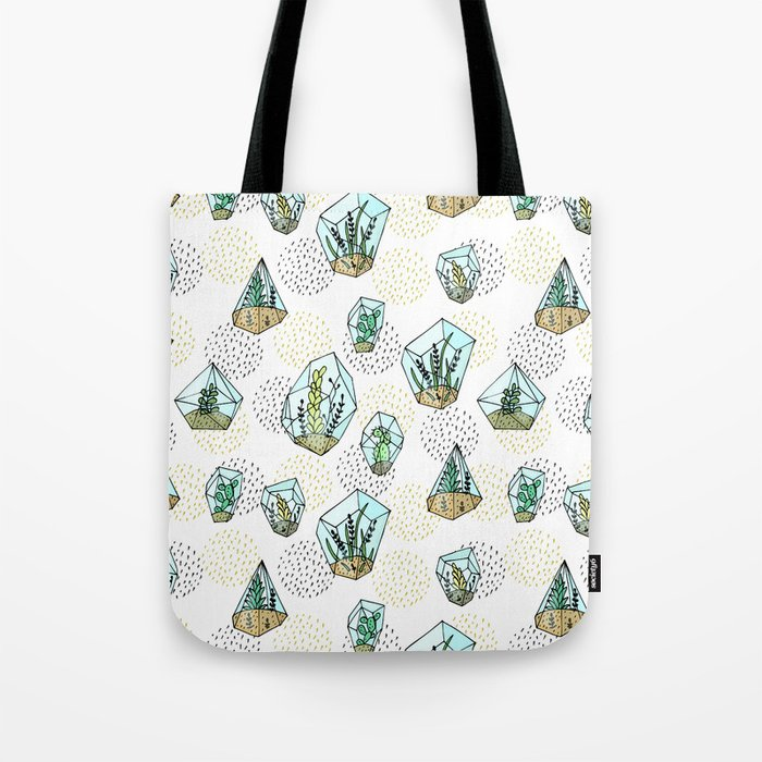 Succulents in the glass vase Tote Bag