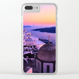Gorgeous sunset in Santorini Clear iPhone Case