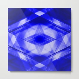 Bright warm triangular strokes of intersecting sharp lines with cornflower triangles and a star. Metal Print