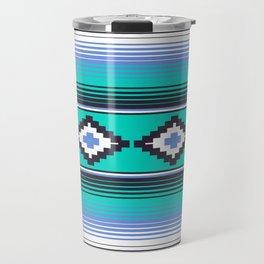 Modern Mexican Serape in Teal Travel Mug