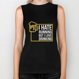 I Hate Running But I Love Beer Tshirt Drinking Novelty Gifts Biker Tank