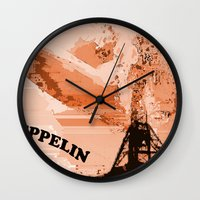 led zeppelin Wall Clocks featuring Zeppelin by Avigur