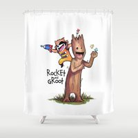 hobbes Shower Curtains featuring Rocket and Groot by mankeeboi