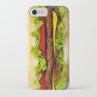 burger iPhone & iPod Cases featuring burger by Shanna Dunn
