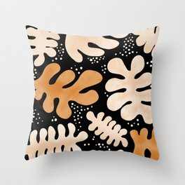 Abstract Orange and Black Leaves Throw Pillow