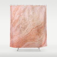 rose gold Shower Curtains featuring Polished Rose Gold Marble by pixel404