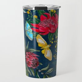 Protea and Watarah with golden wattle, Australian flowers and butterfly moths painted in watercolor Travel Mug