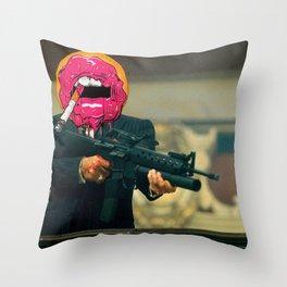 Donutface Throw Pillow