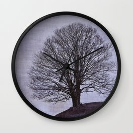 Tree in purple Wall Clock