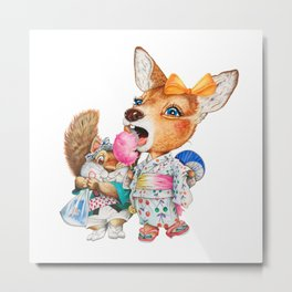 A child deer and squirrel at the summer festival Metal Print