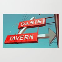 oasis Area & Throw Rugs featuring Oasis sign by Vorona Photography