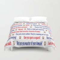 seinfeld Duvet Covers featuring Seinfeld quotes by Dr. Spaceman40