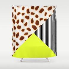 Cheetah Leo stripe and neon Shower Curtain