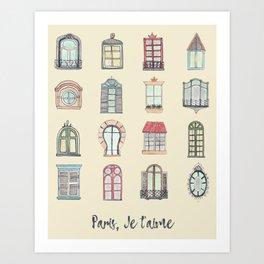 Paris windows watercolor Art Print