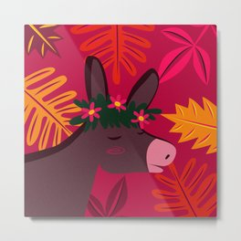 My Little Donkey in Pink Metal Print