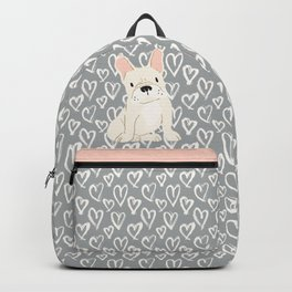 Cream French Bulldog and Hearts Backpack