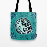sarcasm Tote Bags featuring Sarcasm skull on pillow by NENE W