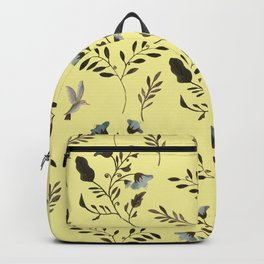 Butter Yellow and Bluebells and Bluebirds Floral Pattern Flowers in Blue and Bark Brown Backpack