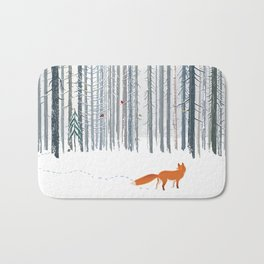 Fox in the white snow winter forest illustration Bath Mat