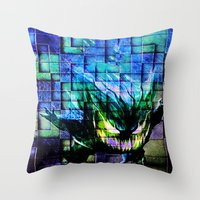 gengar Throw Pillows featuring Gengar Blix by Angela Chevelle