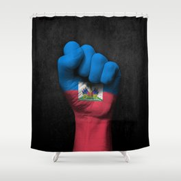 Haitian Flag on a Raised Clenched Fist Shower Curtain