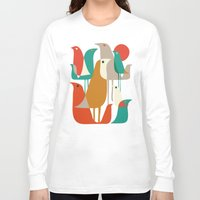 retro Long Sleeve T-shirts featuring Flock of Birds by Picomodi