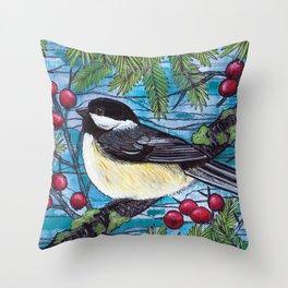 Yuletide Chickadee Throw Pillow