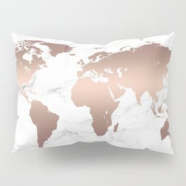 Rose Gold Metallic World Map on Marble Pillow Sham