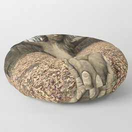 Weathered Naked Woman Statue Abstract Floor Pillow