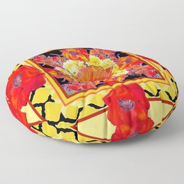 RED POPPIES DECORATIVE FLORAL ABSTRACT Floor Pillow