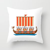 vikings Throw Pillows featuring Vikings by PixelPower