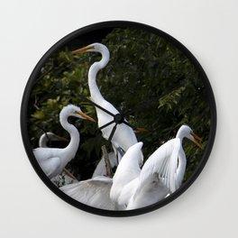 Egret  Flock of Fledglings Wall Clock
