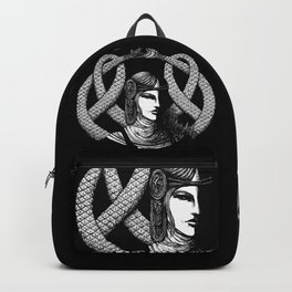 Nordic Goddess Hel in Black Portrait Backpack