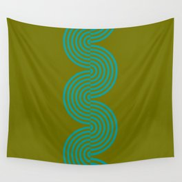groovy minimalist pattern aqua waves on olive Wandbehang