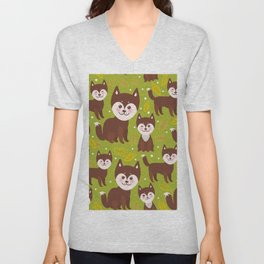 seamless pattern funny brown husky dog and leaves, Kawaii face with large eyes and pink cheeks Unisex V-Neck