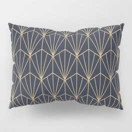 Art Deco Vector in Blue and Gold Pillow Sham