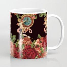 Cherub Floral Vertical Clock Garlands in Black Coffee Mug