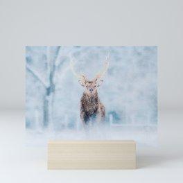 Deer in the snow watercolor painting  Mini Art Print