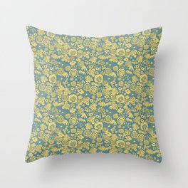 Scribble Ditsy Floral Throw Pillow