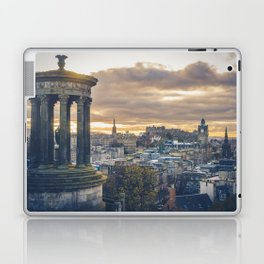 Edinburgh city and castle from Calton hill and Stewart monument Laptop & iPad Skin
