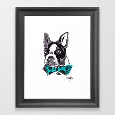 Bow Tie BostonTerrier - Blue Framed Art Print