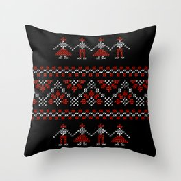 Traditional Romanian white & red cross-stitch people on black Throw Pillow